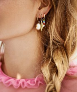 Single Beaded Ring Earring Goldplated