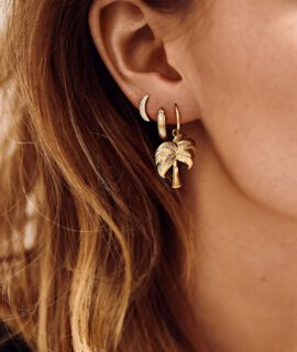 Single Twinkling Palm Ring Earring Goldplated